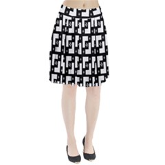 Abstract Pattern Background  Wallpaper In Black And White Shapes, Lines And Swirls Pleated Skirt