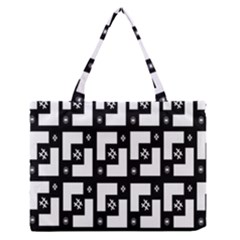 Abstract Pattern Background  Wallpaper In Black And White Shapes, Lines And Swirls Medium Zipper Tote Bag by Simbadda