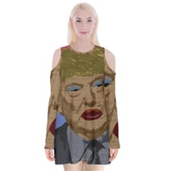 Donald Trump Velvet Long Sleeve Shoulder Cutout Dress by Valentinaart