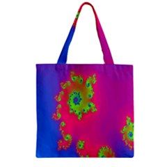 Digital Fractal Spiral Zipper Grocery Tote Bag