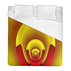 Red Gold Fractal Hypocycloid Duvet Cover (full/ Double Size) by Simbadda