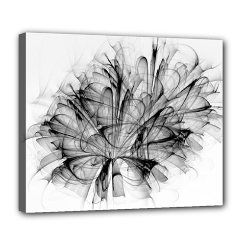 High Detailed Resembling A Flower Fractalblack Flower Deluxe Canvas 24  X 20   by Simbadda