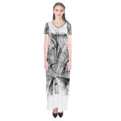 High Detailed Resembling A Flower Fractalblack Flower Short Sleeve Maxi Dress by Simbadda