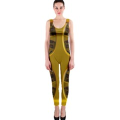 Golden Fractal Window Onepiece Catsuit by Simbadda