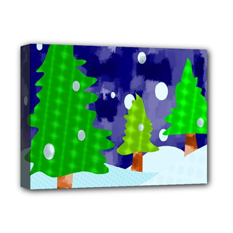Christmas Trees And Snowy Landscape Deluxe Canvas 16  X 12