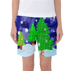 Christmas Trees And Snowy Landscape Women s Basketball Shorts
