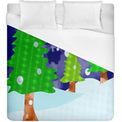 Christmas Trees And Snowy Landscape Duvet Cover (king Size)
