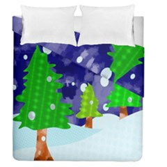 Christmas Trees And Snowy Landscape Duvet Cover Double Side (queen Size)