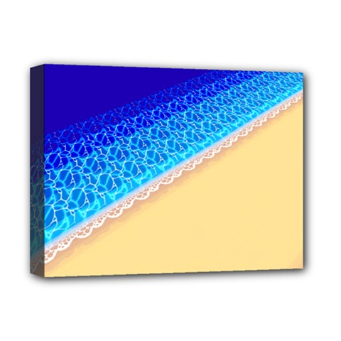 Beach Sea Water Waves Sand Deluxe Canvas 16  X 12   by Alisyart