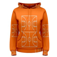 Basketball Court Orange Sport Orange Line Women s Pullover Hoodie