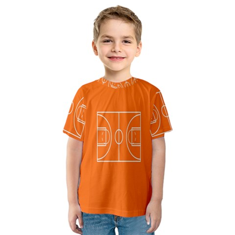 Basketball Court Orange Sport Orange Line Kids  Sport Mesh Tee by Alisyart
