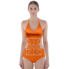 Basketball Court Orange Sport Orange Line Cut Out One Piece Swimsuit