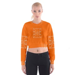 Basketball Court Orange Sport Orange Line Women s Cropped Sweatshirt by Alisyart