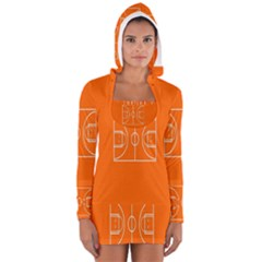 Basketball Court Orange Sport Orange Line Women s Long Sleeve Hooded T Shirt