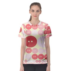 Buttons Pink Red Circle Scrapboo Women s Sport Mesh Tee by Alisyart