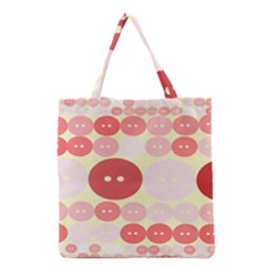 Buttons Pink Red Circle Scrapboo Grocery Tote Bag by Alisyart