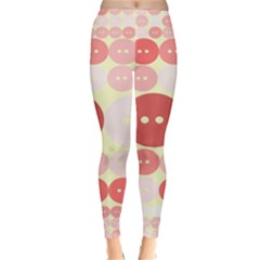 Buttons Pink Red Circle Scrapboo Classic Winter Leggings