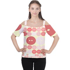 Buttons Pink Red Circle Scrapboo Women s Cutout Shoulder Tee by Alisyart
