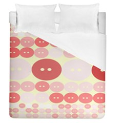Buttons Pink Red Circle Scrapboo Duvet Cover (queen Size) by Alisyart