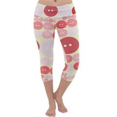 Buttons Pink Red Circle Scrapboo Capri Yoga Leggings by Alisyart