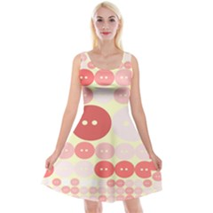 Buttons Pink Red Circle Scrapboo Reversible Velvet Sleeveless Dress