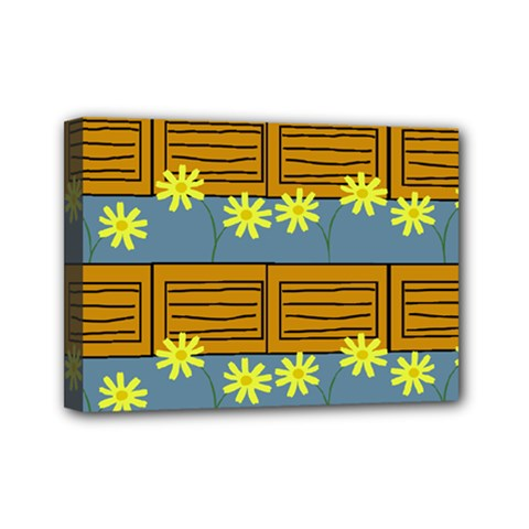Yellow Flower Floral Sunflower Mini Canvas 7  X 5