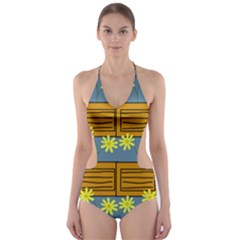 Yellow Flower Floral Sunflower Cut Out One Piece Swimsuit