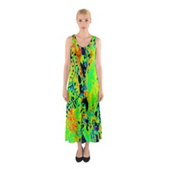 Bow Canopy Height Satelite Map Sleeveless Maxi Dress
