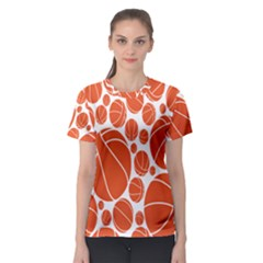 Basketball Ball Orange Sport Women s Sport Mesh Tee by Alisyart