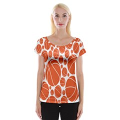 Basketball Ball Orange Sport Women s Cap Sleeve Top