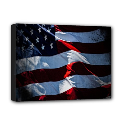 Grunge American Flag Background Deluxe Canvas 16  X 12   by Simbadda