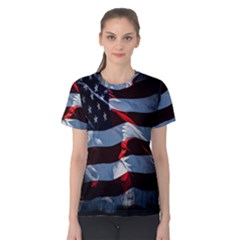 Grunge American Flag Background Women s Cotton Tee by Simbadda