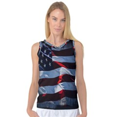 Grunge American Flag Background Women s Basketball Tank Top by Simbadda