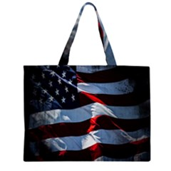Grunge American Flag Background Zipper Large Tote Bag by Simbadda