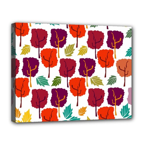 Colorful Trees Background Pattern Canvas 14  X 11