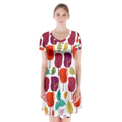 Colorful Trees Background Pattern Short Sleeve V Neck Flare Dress