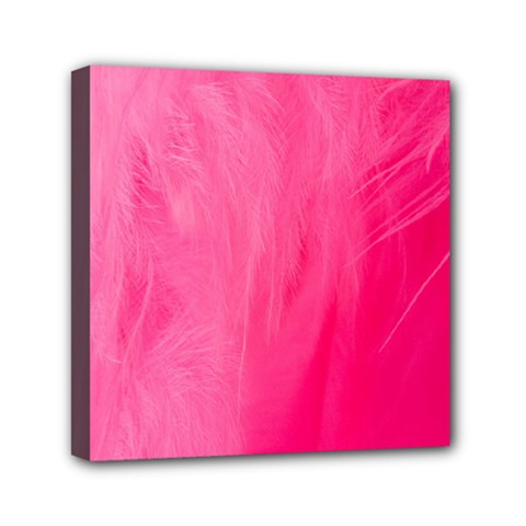 Very Pink Feather Mini Canvas 6  X 6