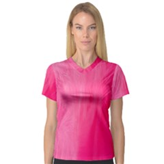Very Pink Feather Women s V Neck Sport Mesh Tee by Simbadda