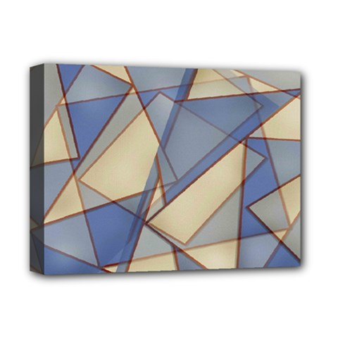 Blue And Tan Triangles Intertwine Together To Create An Abstract Background Deluxe Canvas 16  X 12