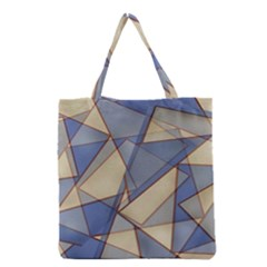 Blue And Tan Triangles Intertwine Together To Create An Abstract Background Grocery Tote Bag