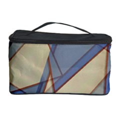 Blue And Tan Triangles Intertwine Together To Create An Abstract Background Cosmetic Storage Case by Simbadda