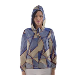 Blue And Tan Triangles Intertwine Together To Create An Abstract Background Hooded Wind Breaker (women) by Simbadda