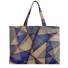 Blue And Tan Triangles Intertwine Together To Create An Abstract Background Zipper Mini Tote Bag