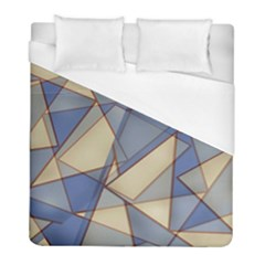 Blue And Tan Triangles Intertwine Together To Create An Abstract Background Duvet Cover (full/ Double Size) by Simbadda