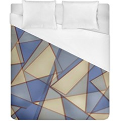 Blue And Tan Triangles Intertwine Together To Create An Abstract Background Duvet Cover (california King Size) by Simbadda