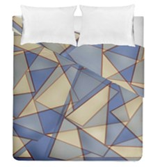 Blue And Tan Triangles Intertwine Together To Create An Abstract Background Duvet Cover Double Side (queen Size) by Simbadda