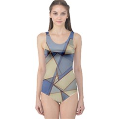 Blue And Tan Triangles Intertwine Together To Create An Abstract Background One Piece Swimsuit