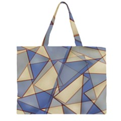 Blue And Tan Triangles Intertwine Together To Create An Abstract Background Zipper Large Tote Bag by Simbadda