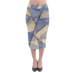 Blue And Tan Triangles Intertwine Together To Create An Abstract Background Midi Pencil Skirt