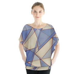 Blue And Tan Triangles Intertwine Together To Create An Abstract Background Blouse
